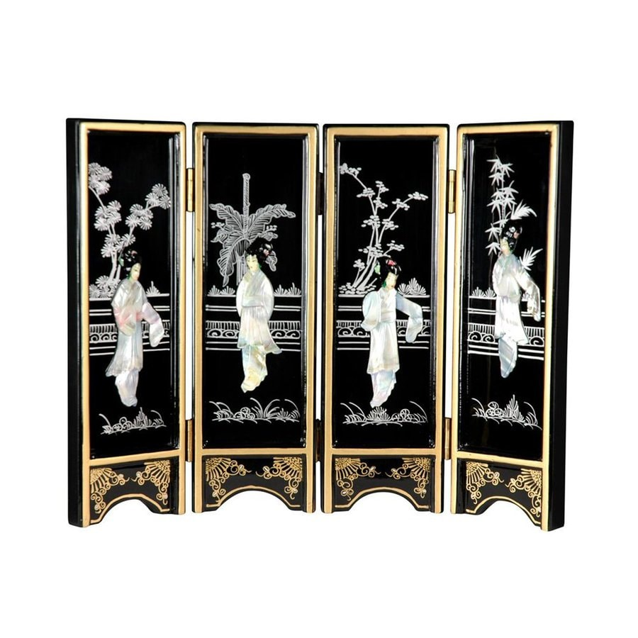 Oriental Furniture Black Mini Lacquer Screen