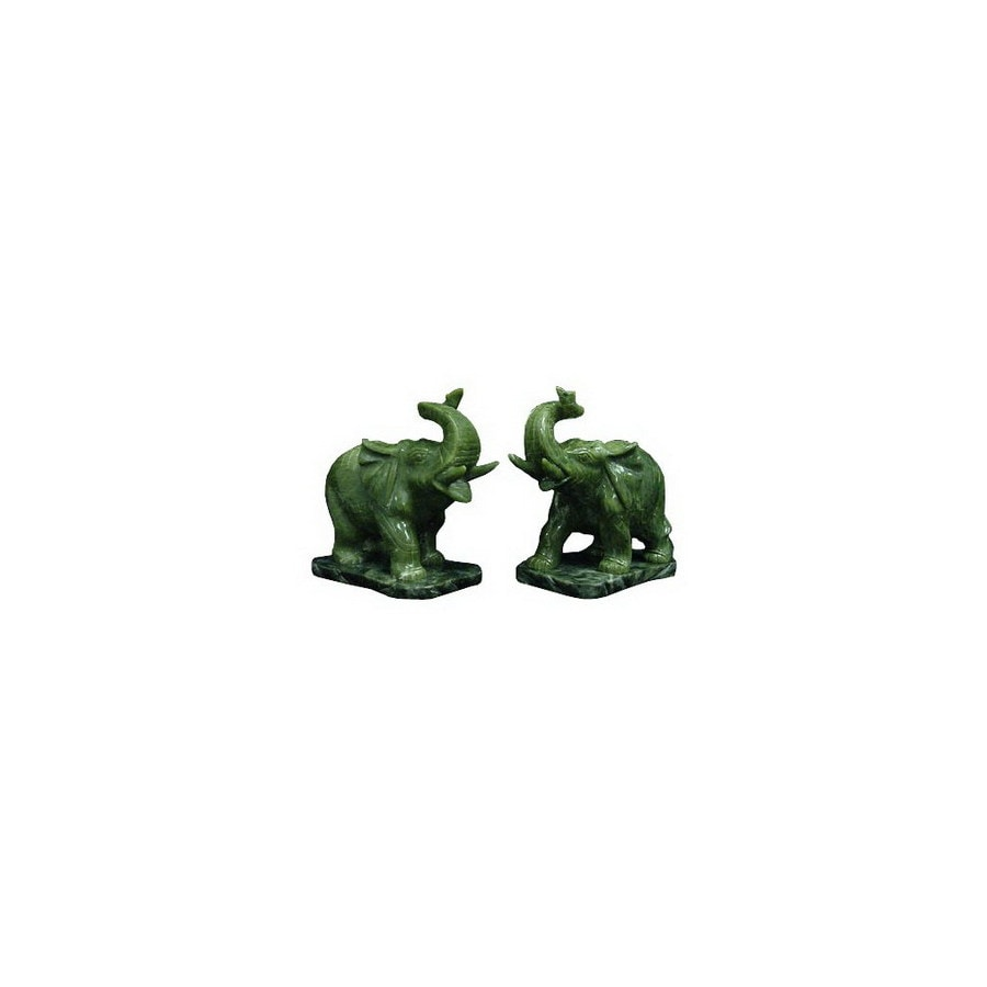 Oriental Furniture Jade Green 3inch Pair of Elephants with Base Tabletop Statue