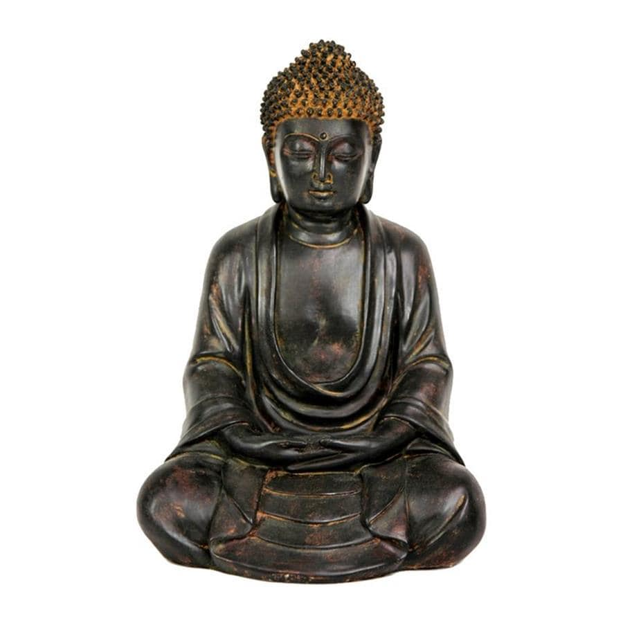 Oriental Furniture Antiqued Patina 9.5inch Japanese Sitting Buddha Tabletop Statue