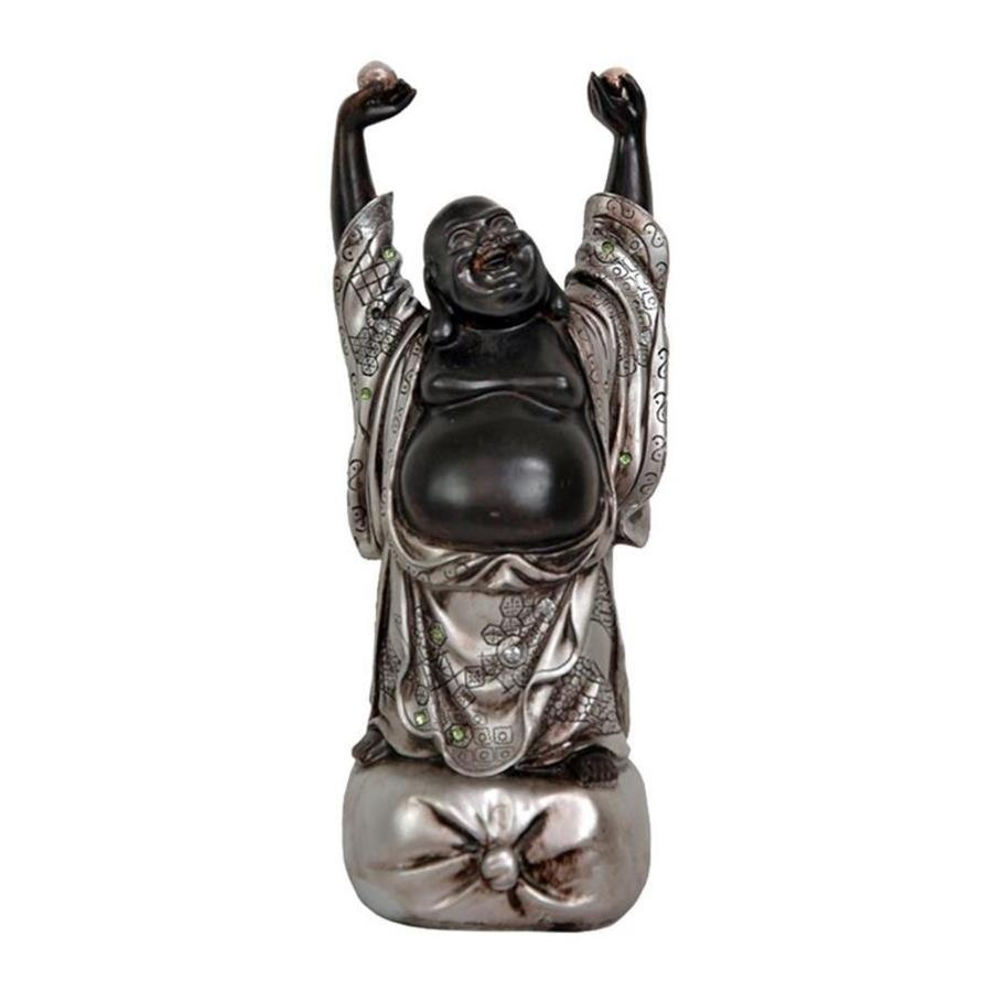 Oriental Furniture Silver Patina 11inch Standing Laughing Buddha Tabletop Statue