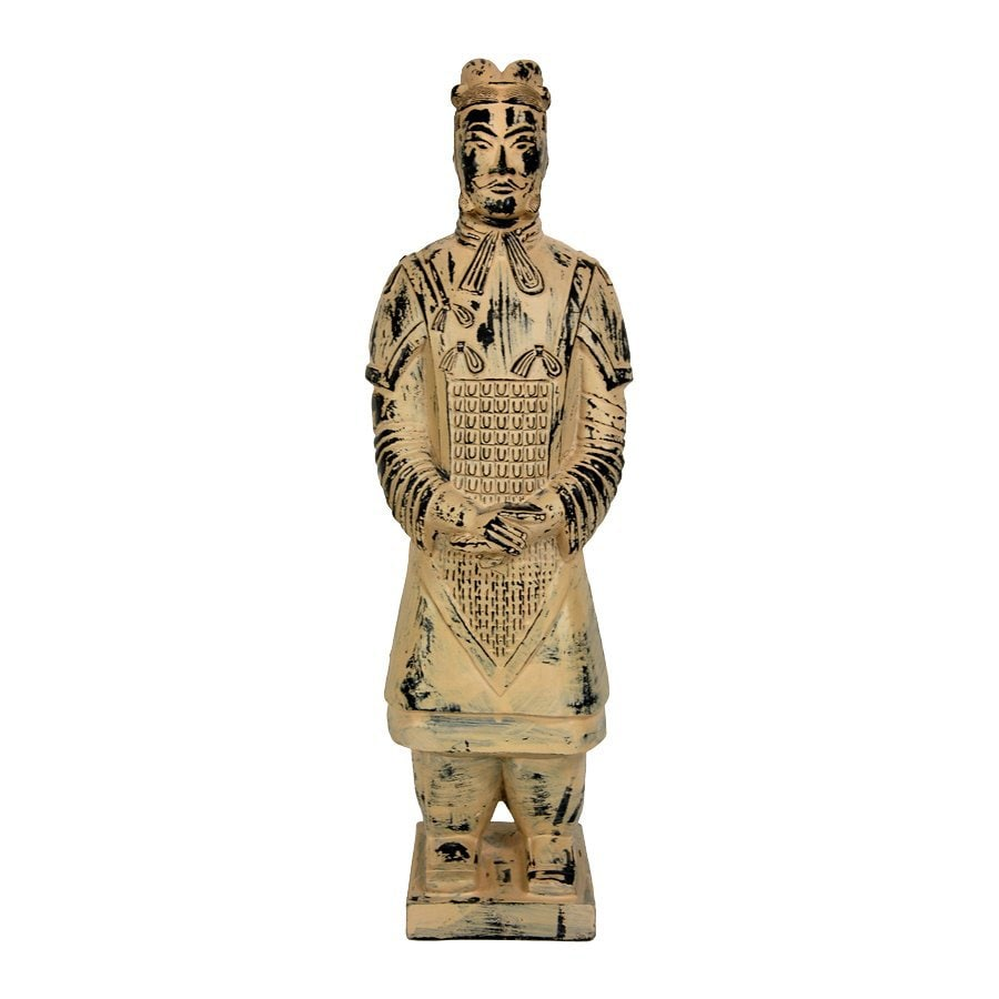 Oriental Furniture Sandy Clay Patina 17inch Xian Tomb Warrior Tabletop Statue