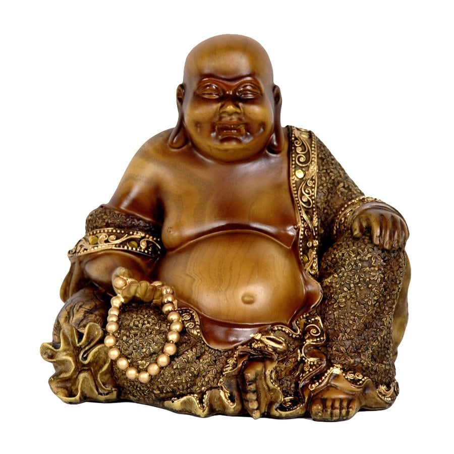 Oriental Furniture Faux Bronze 6inch Sitting Laughing Buddha Tabletop Statue