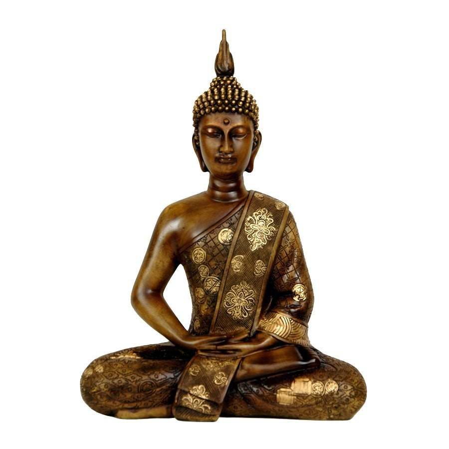 Oriental Furniture Wood/Antiqued Gold Patina 11.5inch Thai Sitting Buddha Tabletop Statue