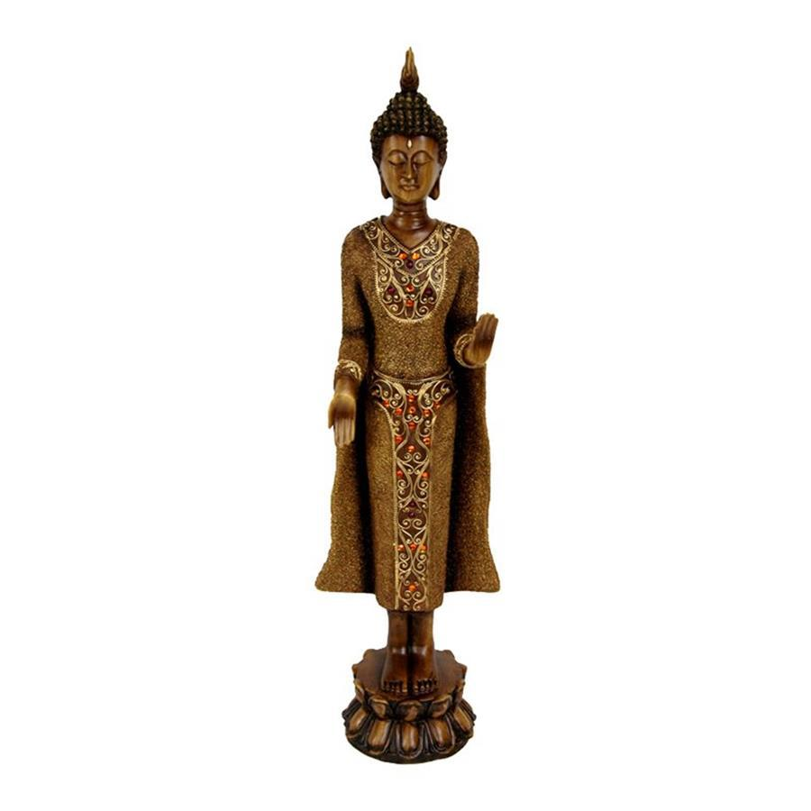 Oriental Furniture Wood 20inch Standing Thai Buddha Tabletop Statue