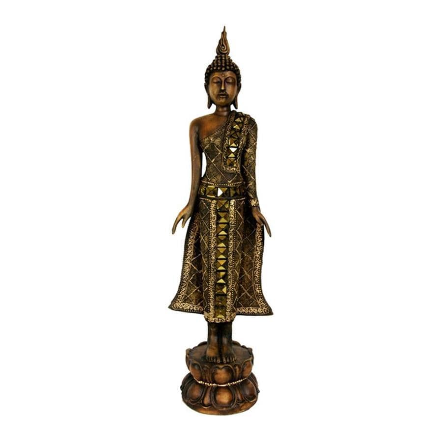 Oriental Furniture Wood 22inch Standing Thai Buddha Tabletop Statue