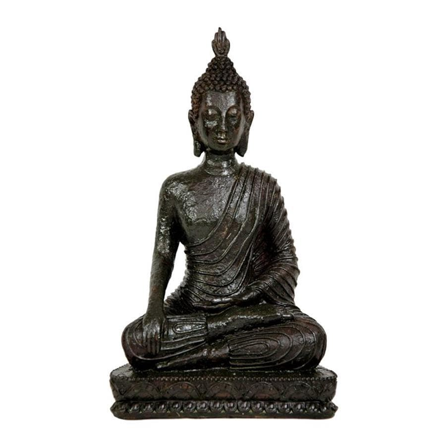 Oriental Furniture Antiqued Patina 10inch Laotian Sitting Buddha Tabletop Statue
