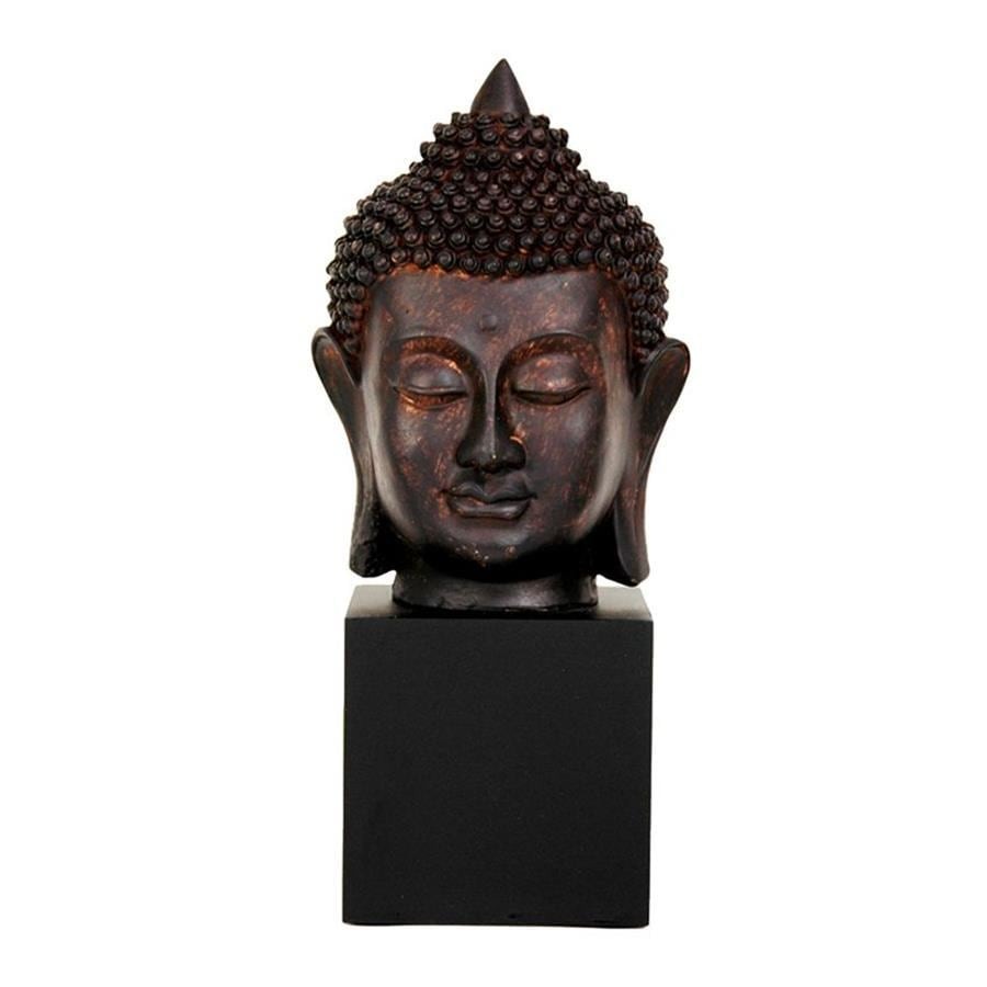 Oriental Furniture Faux Bronze Patina 10inch Thai Buddha Head Tabletop Statue