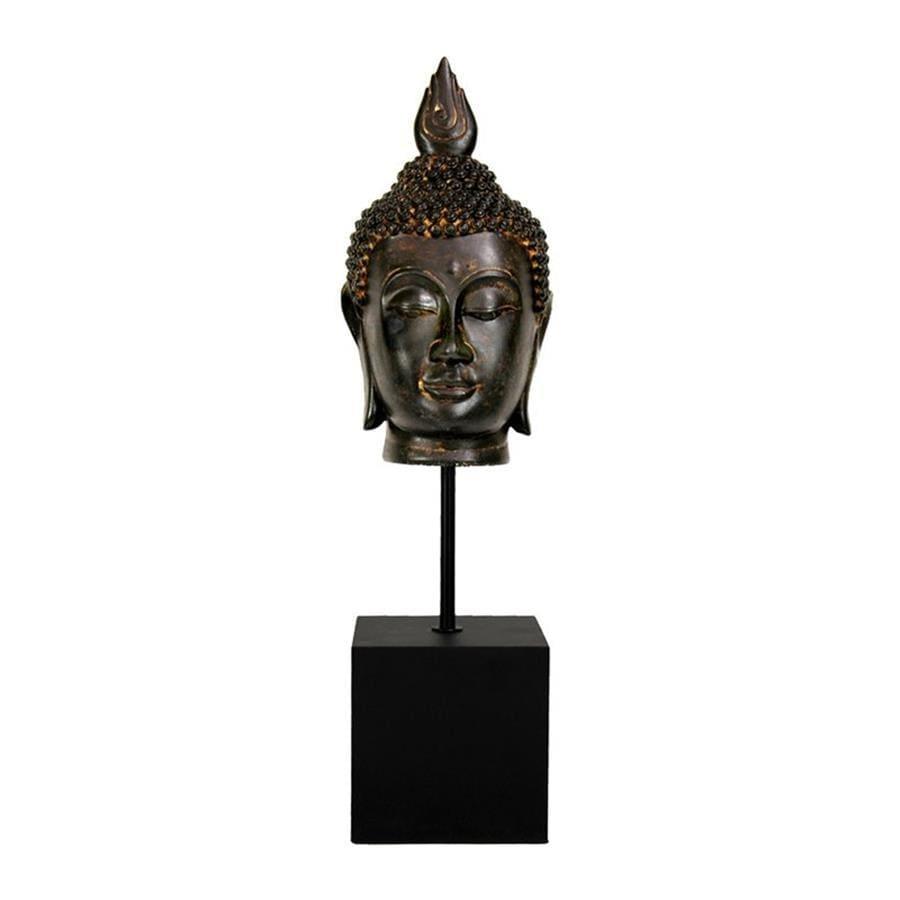 Oriental Furniture Antiqued Patina 19inch Burmese Buddha Head Tabletop Statue
