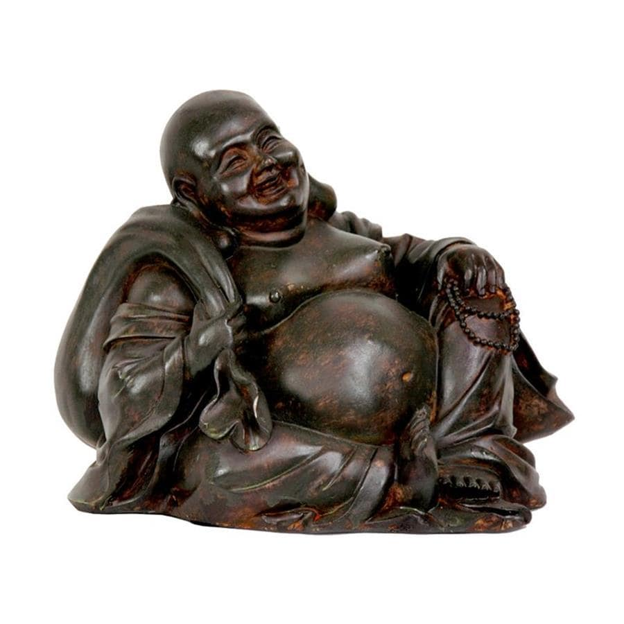 Oriental Furniture Oxidized Bronze/Antiqued Patina 5.5inch Sitting Happy Buddha Tabletop Statue