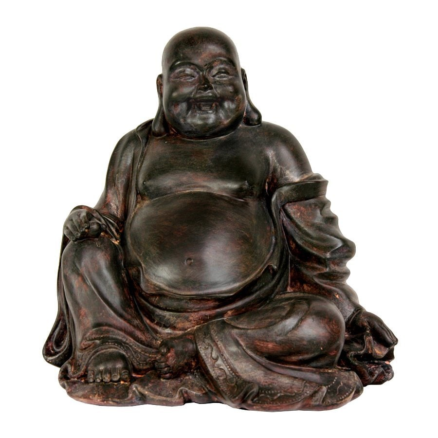 Oriental Furniture Oxidized Bronze 11inch Sitting Lucky Buddha Tabletop Statue