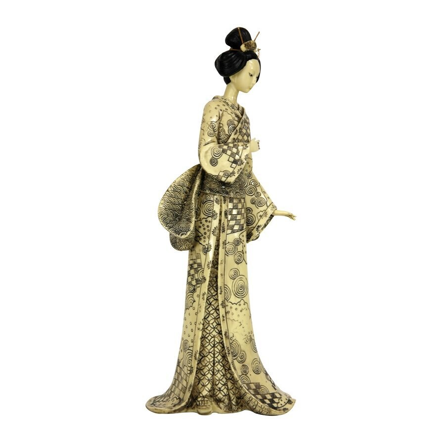 Oriental Furniture 16inch Geisha Figurine with Nature Symbols Kimono Tabletop Statue