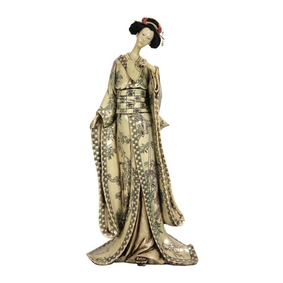 Oriental Furniture 18inch Geisha Figurine with Bamboo Tree Kimono Tabletop Statue
