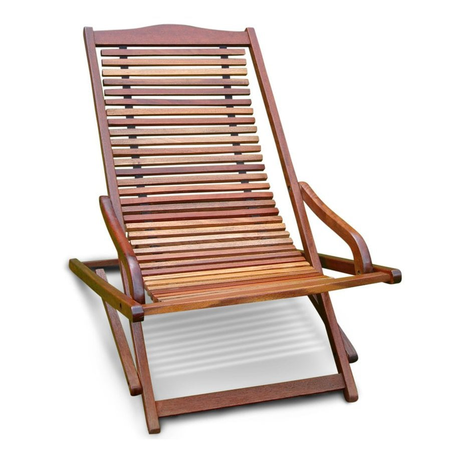 VIFAH Eucalyptus Folding Patio Chaise Lounge