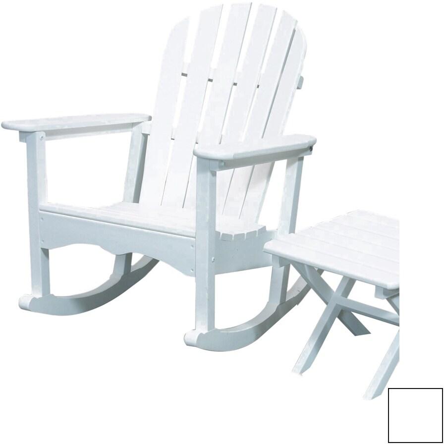 Beachfront Furniture White Plastic Slat Seat Outdoor Rocking Chair