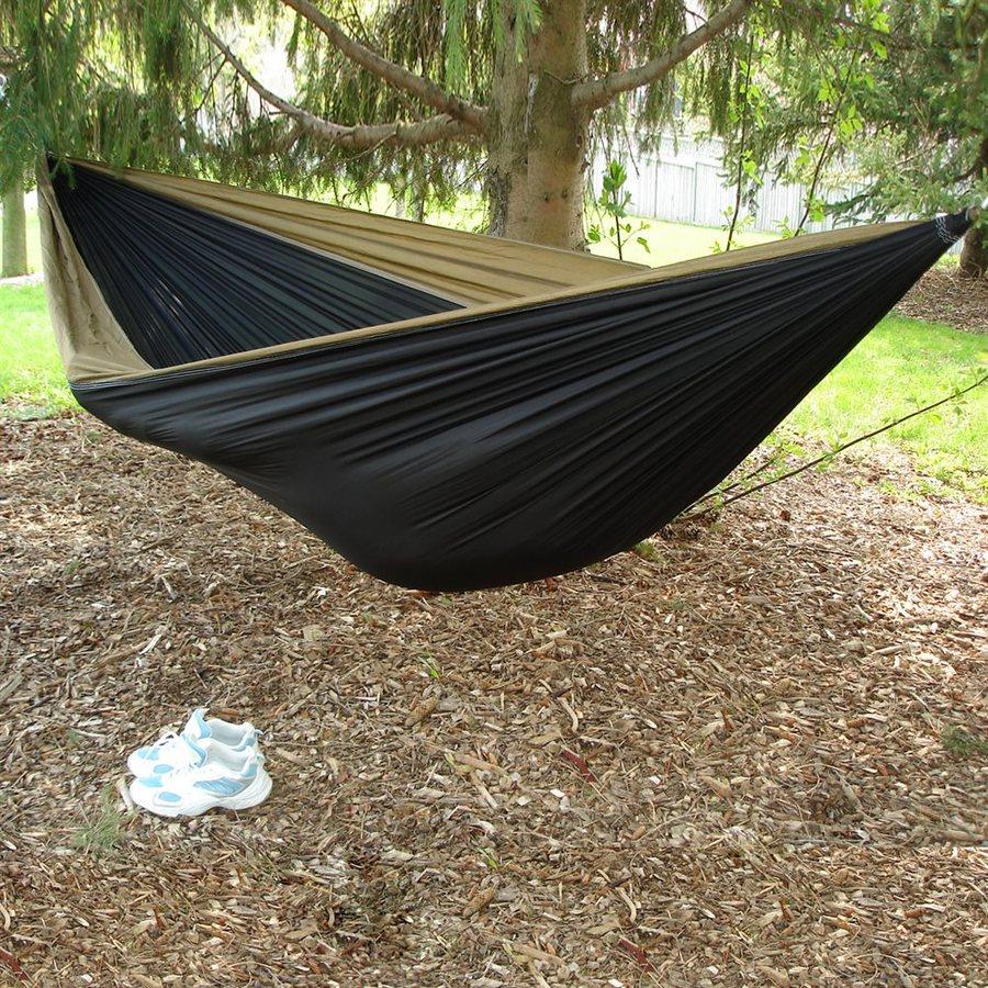 Vivere Parachute Black/Sand Fabric Hammock