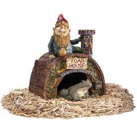 Design Toscano Garden Gnome Toad House 11.5 In Garden Statue