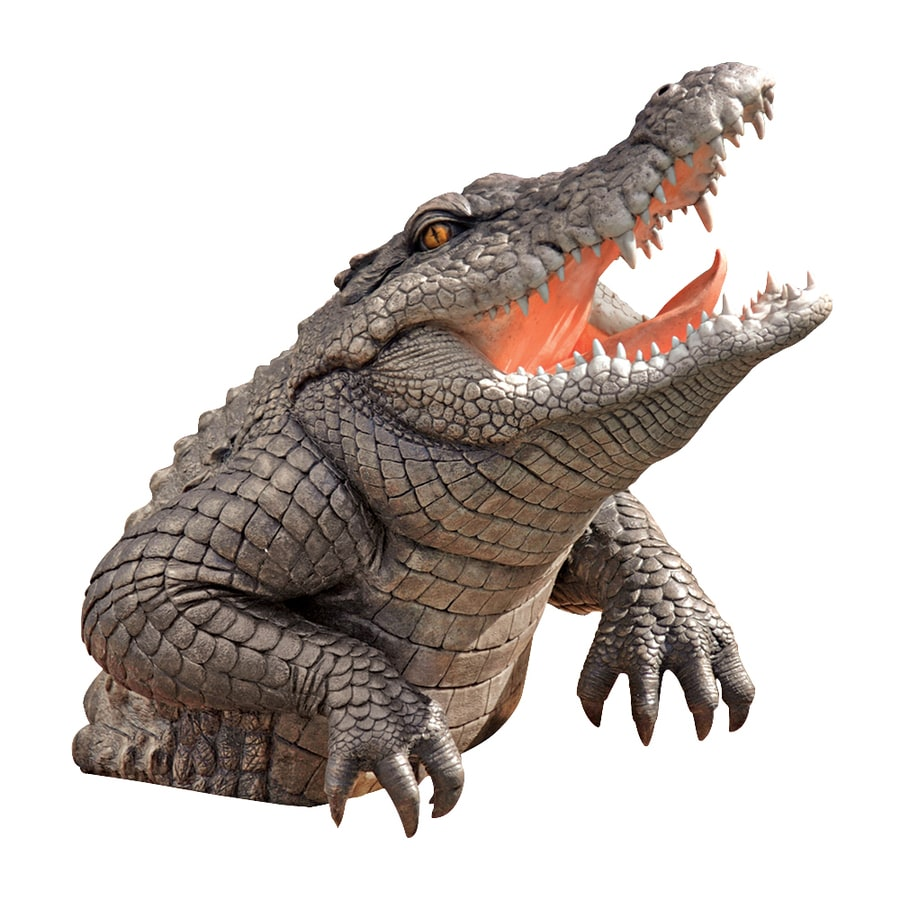 Design Toscano Snapping Swamp Gator 19-in Animal Garden Statue