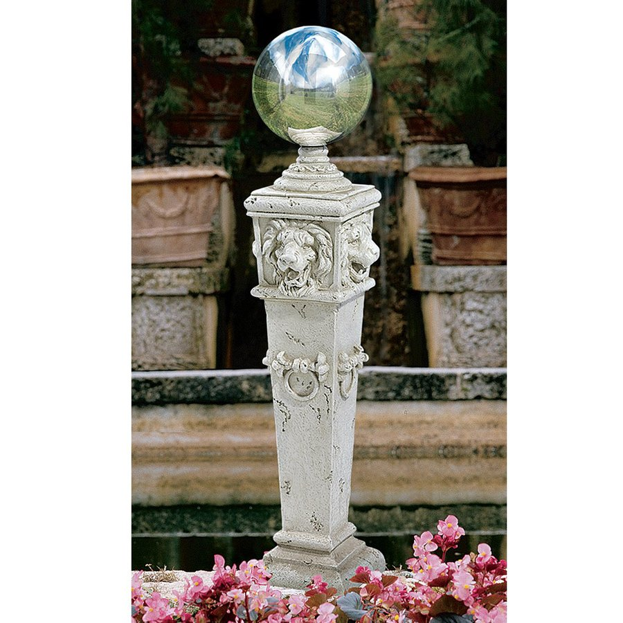 Design Toscano Lion Head Gazing Globe 41-in Architecture Garden Statue