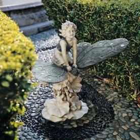 Design Toscano Fairyu0027s Wonderous Butterfly Ride 18.5 In Garden Statue