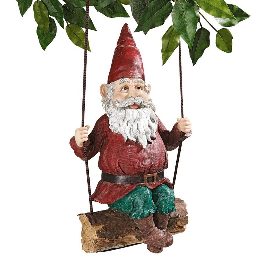 Design Toscano Sammy The Swinging Gnome 15-in Garden Statue