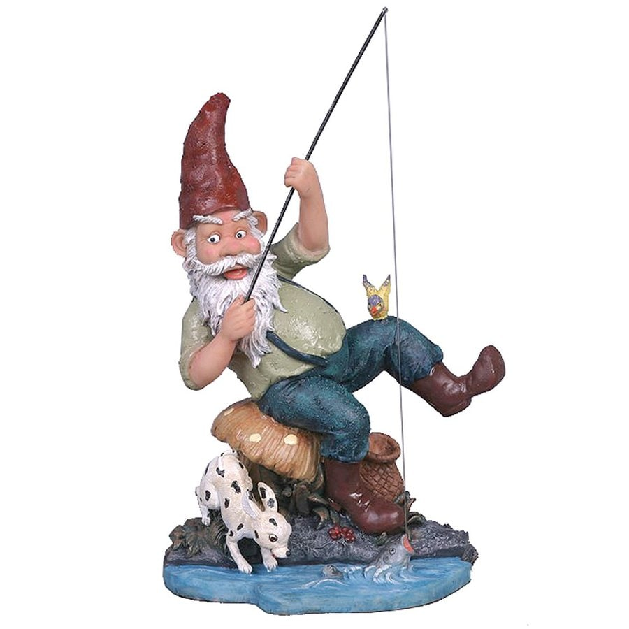 Design Toscano Gone Fishing 12-in Gnome Garden Statue