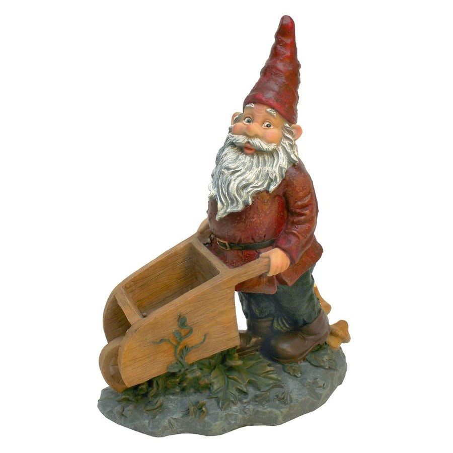 Design Toscano Wheeler With The Wheelbarrow 10.5 In Gnome Garden Statue