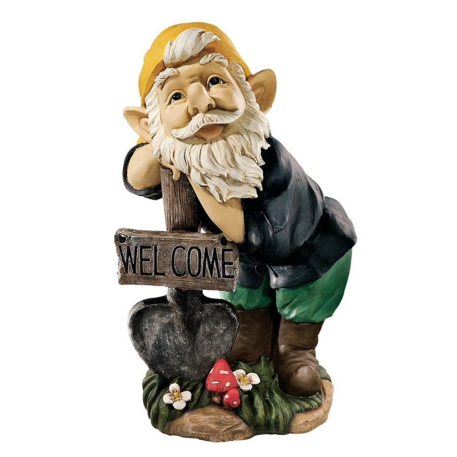 Design Toscano Black Forest Welcoming Gnome 20-in Garden Statue