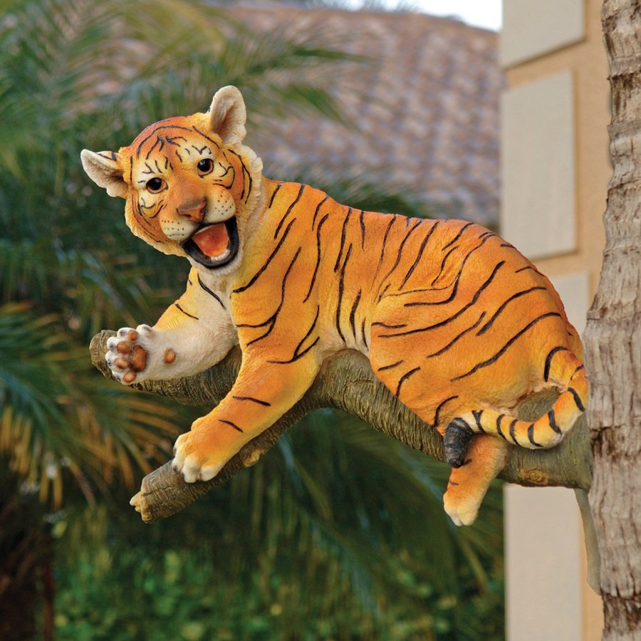 Design Toscano Up A Tree Lounging Tiger Cub 16-in Animal Garden Statue