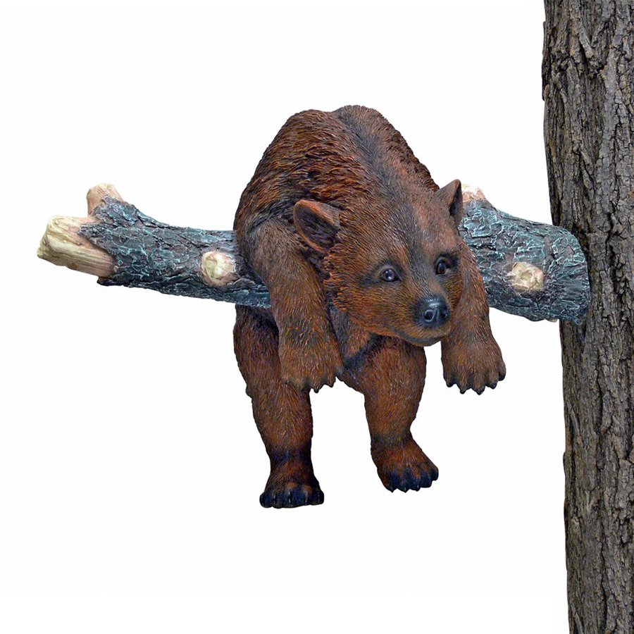 Design Toscano Out On A Limb Hanging Brown Bear Cub 11-in Animal Garden Statue
