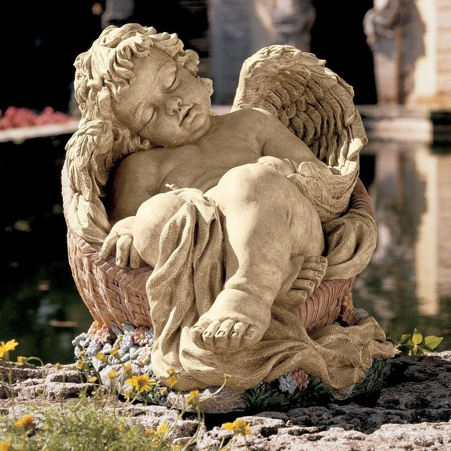 Design Toscano Afternoon Nap 12.5-in Angels and Cherubs Garden Statue