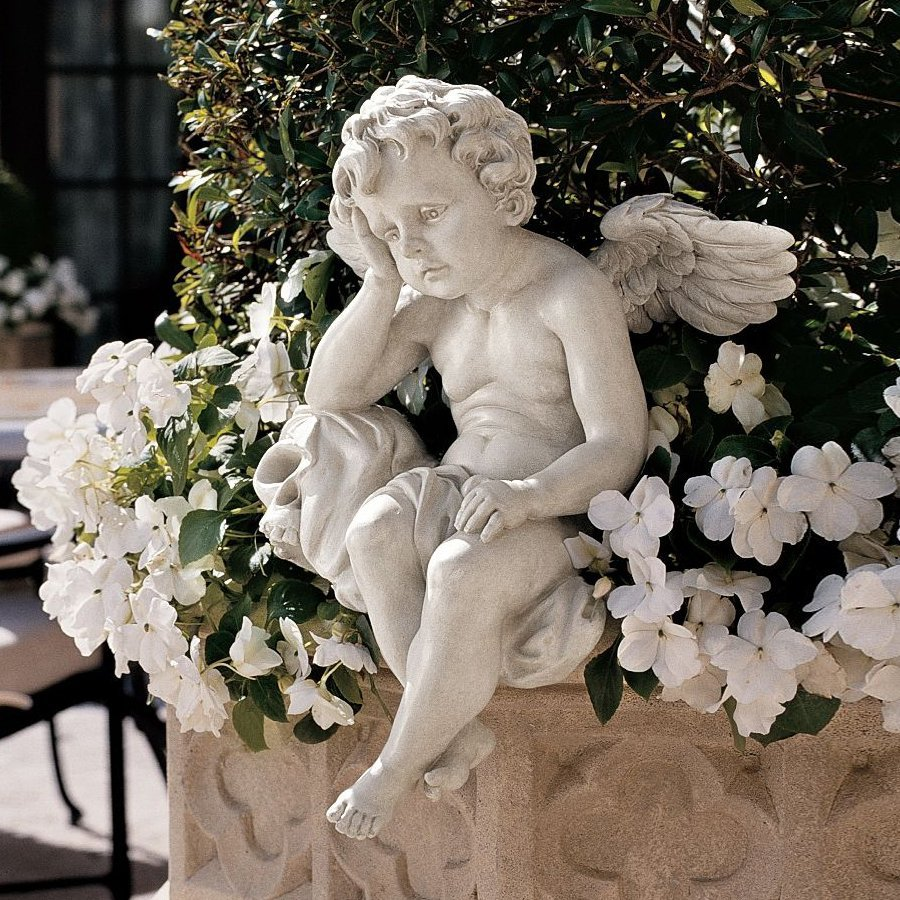 Design Toscano Mourning Mortality 13 In Angels And Cherubs Garden Statue