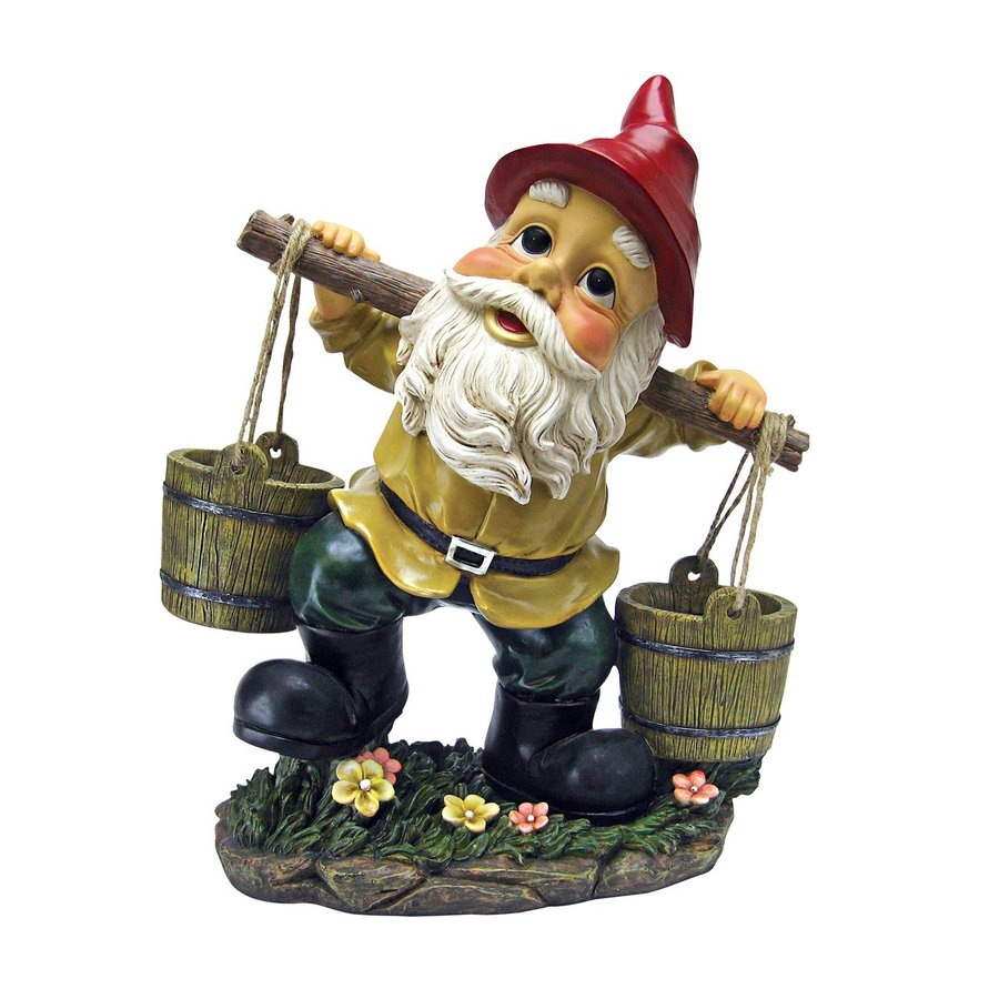 Design Toscano Barney Two Buckets 18-in Gnome Garden Statue