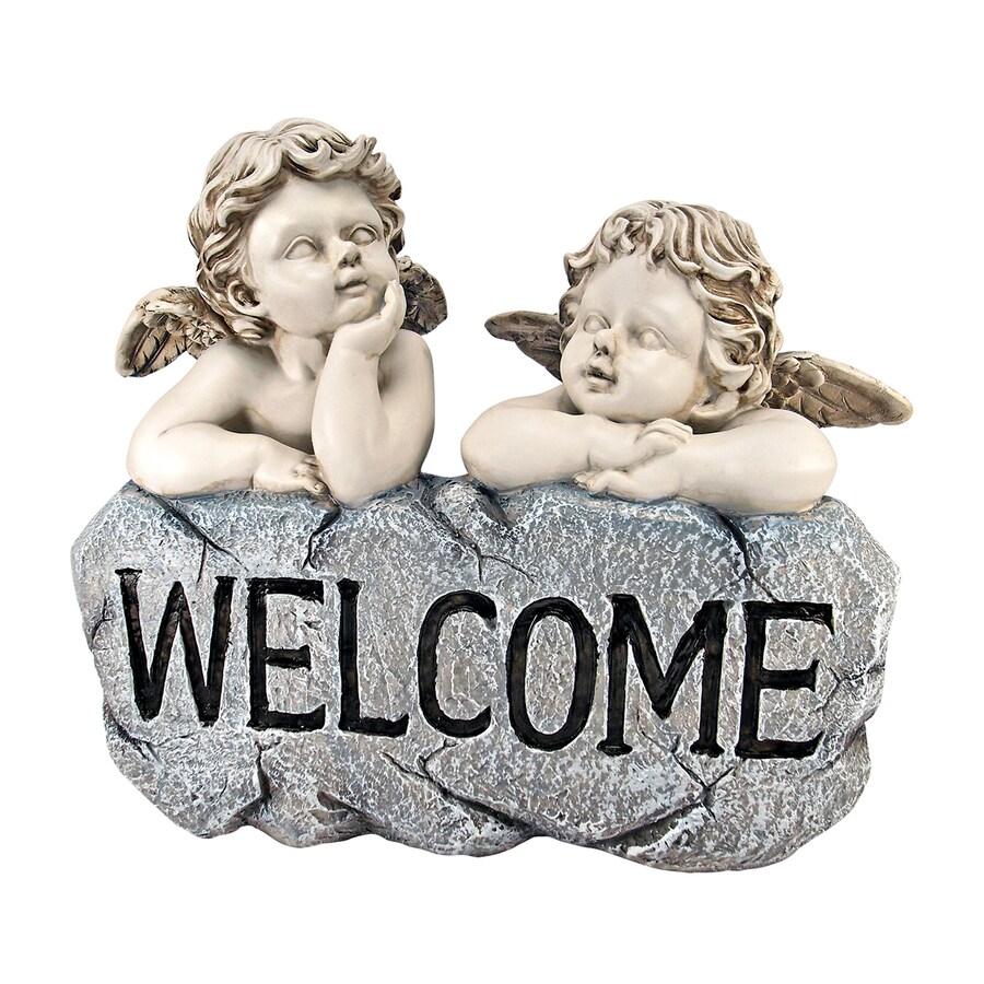 Design Toscano Raphael's Cherub Twins Welcome Sign 10-in Angels and Cherubs Garden Statue