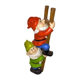 Design Toscano Up The Ladder Climbing Gnomes 12 In Garden Statue