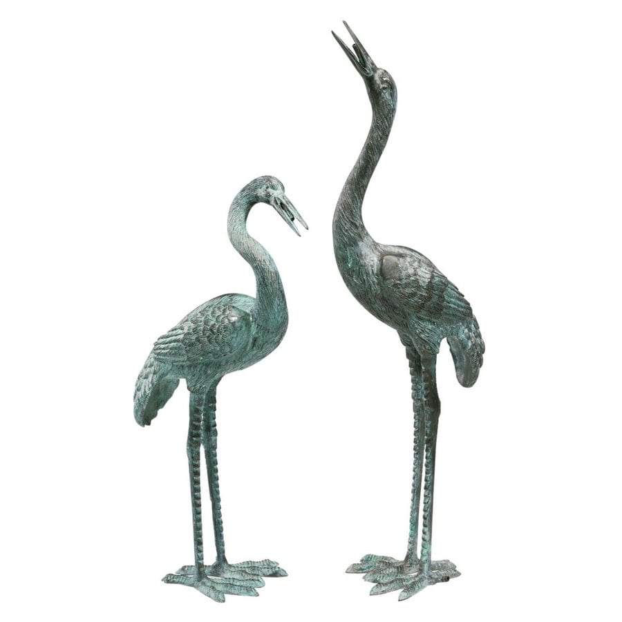 Design Toscano Bronze Crane Set Animal Garden Statue