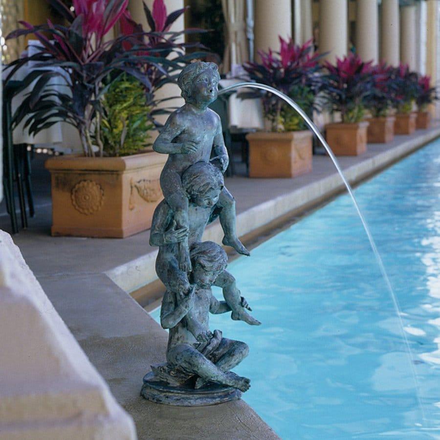 Design Toscano Child's Play Stacked Spitting Bronze Statue 32-in Children Garden Statue