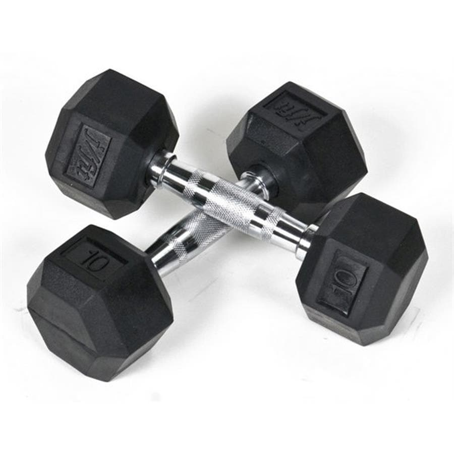J FIT Set of Two 10-lb Black Fixed-Weight Dumbbells