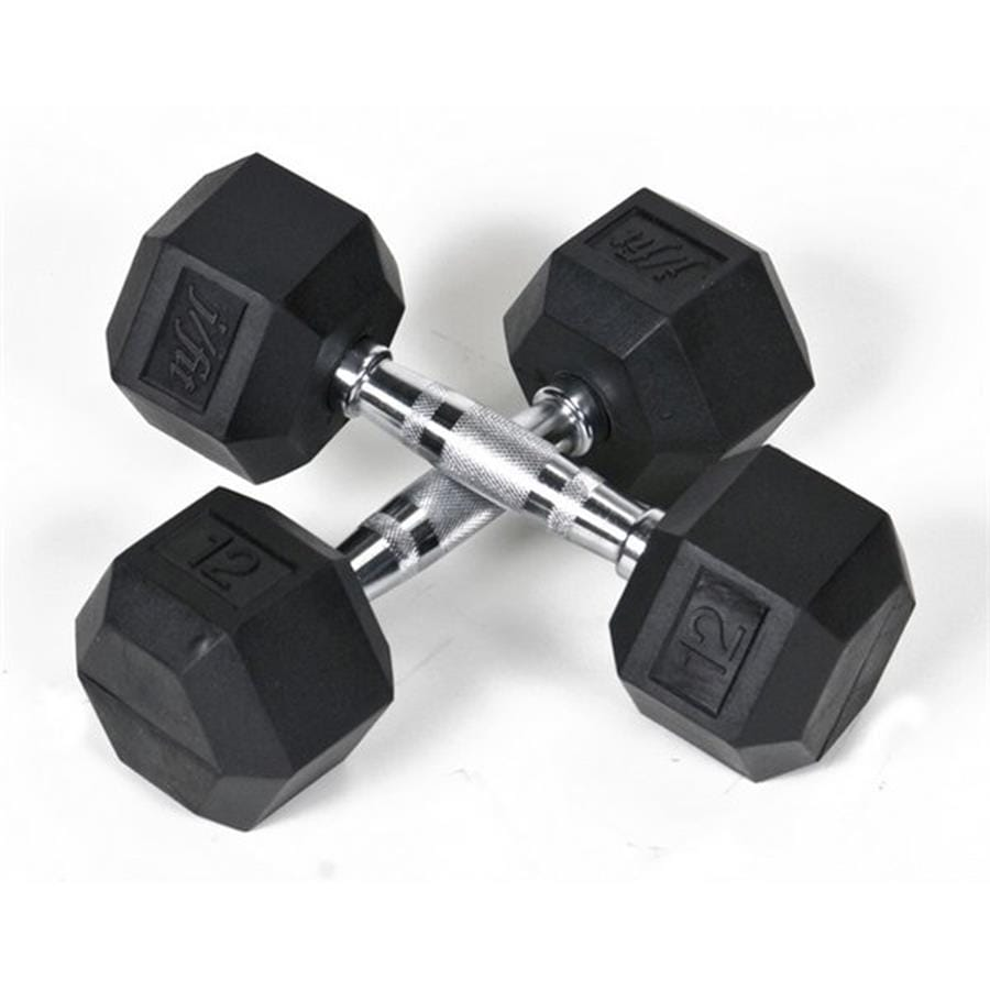 J FIT Set of Two 24-lb Black Fixed-Weight Dumbbells