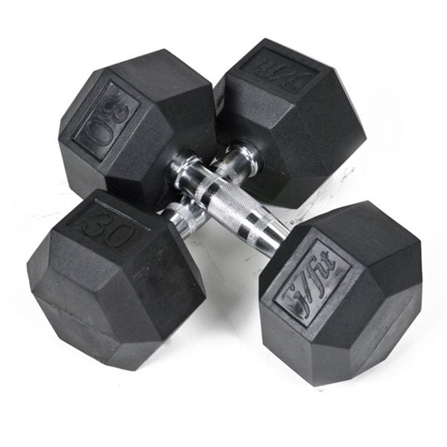 J FIT Set of Two 60-lb Black Fixed-Weight Dumbbells