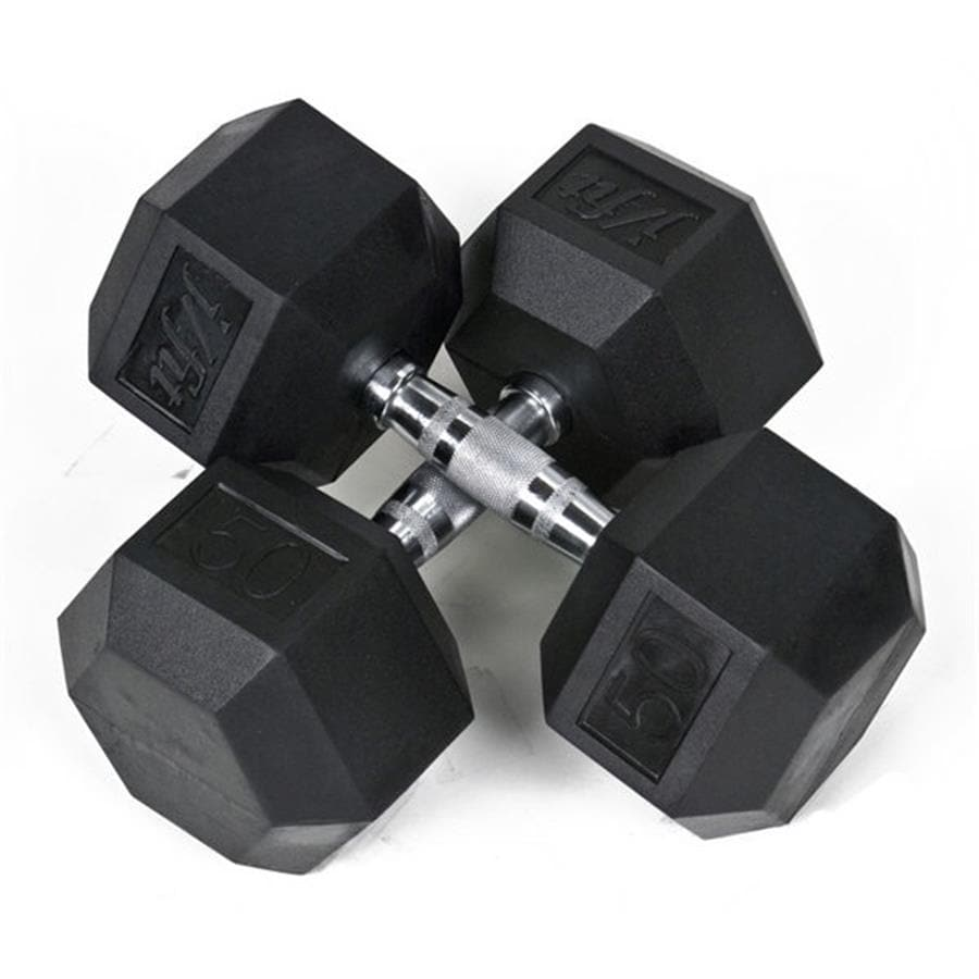 J FIT Set of Two 100-lb Black Fixed-Weight Dumbbells