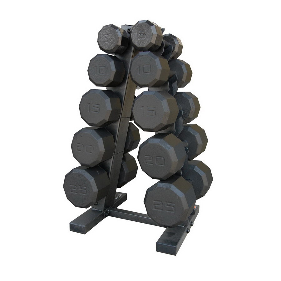 CAP Set of 10 (5 to 25 lbs) Black Fixed-Weight Dumbbells