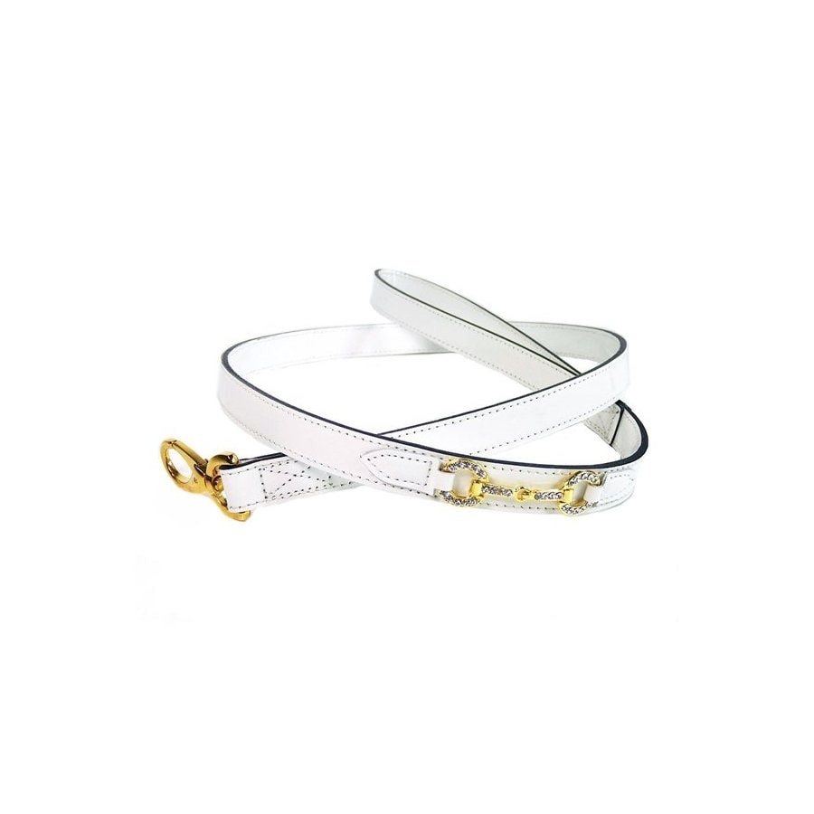 Hartman & Rose White Leather Dog Leash