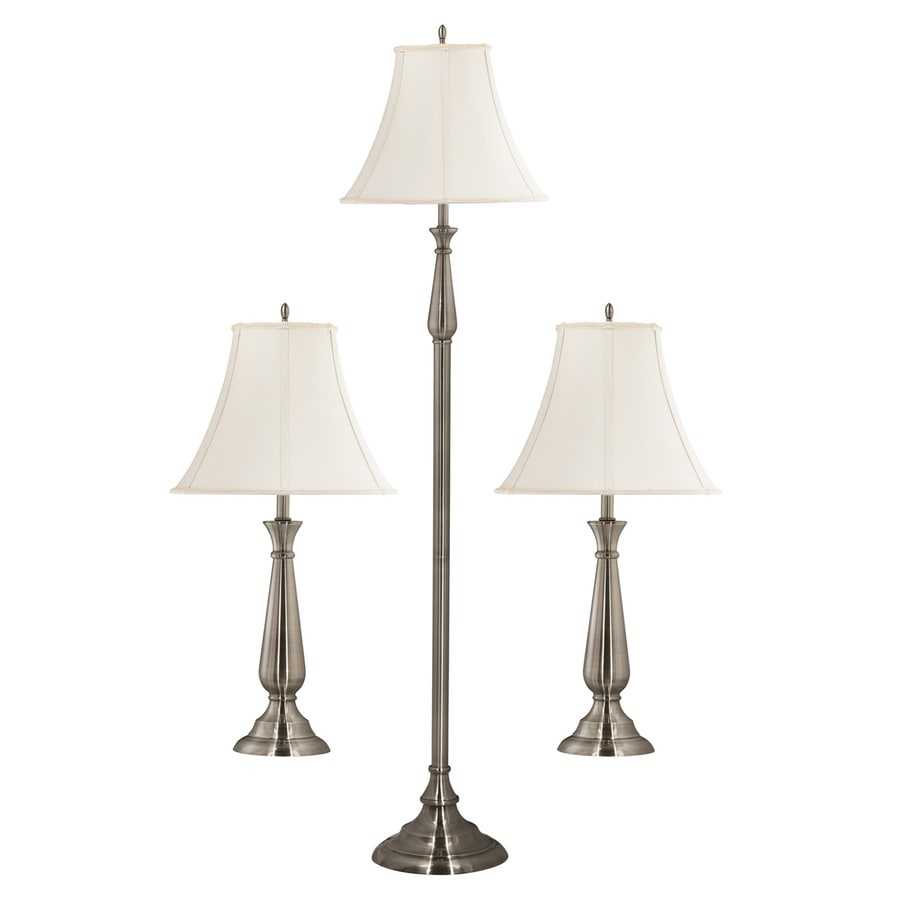 Kenroy Home Banister 3-Piece Brushed Steel Lamp Set with Fabric Shades