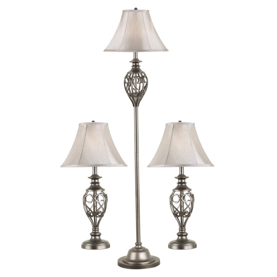 Kenroy Home Cerise 3-Piece Silver Lamp Set with Fabric Shades