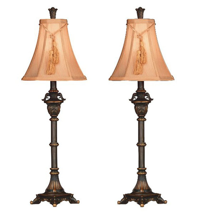 Kenroy Home Rowan 2-Piece Metallic Bronze Traditional Lamp Set with Fabric Shades
