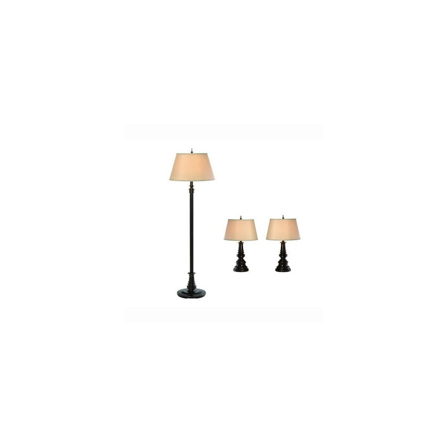 Gen-Lite 3-Piece Restoration Bronze Lamp Set with Shades