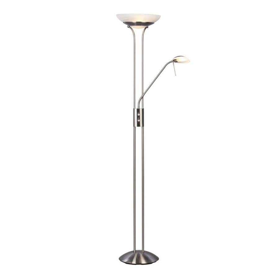 Galaxy 70.875-in Brushed Nickel Torchiere with Reading Light Floor Lamp with Glass Shade