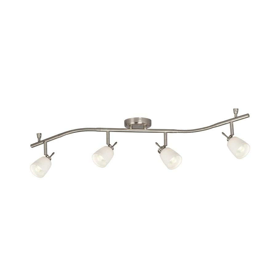 Galaxy 4-Light 46-in Brushed Nickel Dimmable Flexible Track Light with White Glass