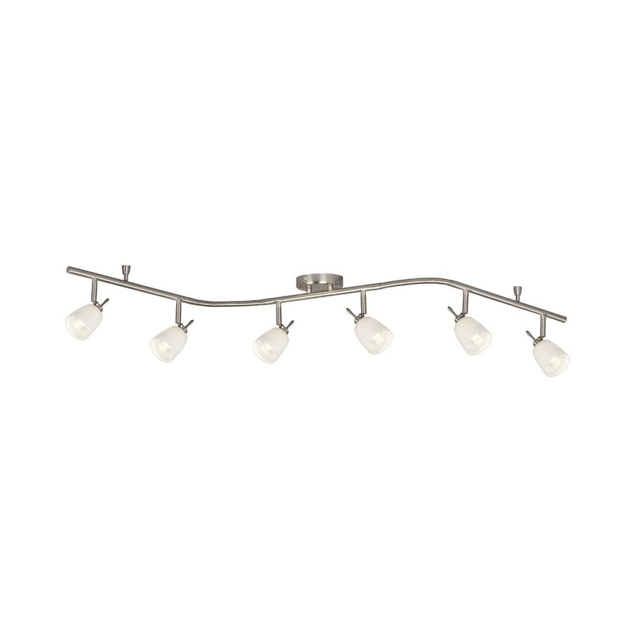 Galaxy 6 Light 61 In Brushed Nickel Dimmable Flexible Track Light With White  Glass