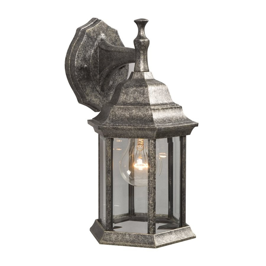 Galaxy 11.5-in H Antique Silver Outdoor Wall Light